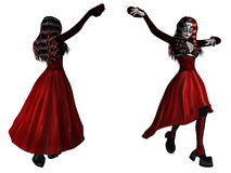 Gothic woman in red dress Royalty Free Stock Photos