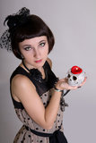 Gothic woman with a skull Stock Photography
