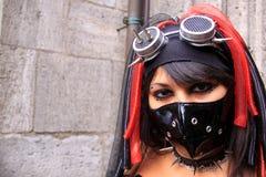Gothic woman wearing black facemask royalty free stock image
