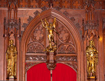Gothic wood arch gold statue Brussels, Belgium Stock Photography