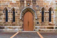 Gothic wooden church door and windows Stock Photo
