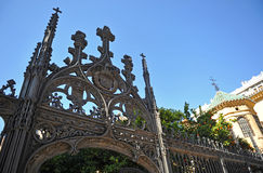 Gothic wrought iron gate, cathedral of Granada, Andalusia, Spain Royalty Free Stock Photos