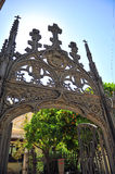 Gothic wrought iron gate, cathedral of Granada, Andalusia, Spain Royalty Free Stock Images