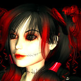 Gothica. 3d rendering as a goth girl as portrait illustration Royalty Free Stock Photography