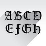 Gothical handskrivna bokstäver Arkivbild