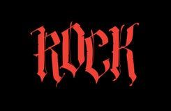 Gothique, roche d'inscription Vecteur Police pour le tatouage Le mot est isolé sur un fond noir Calligraphie et lettrage Rouge illustration de vecteur