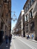 Gotic Barrio Barcelona, Spain. Street in Gothic Quarter in Barcelona Royalty Free Stock Image