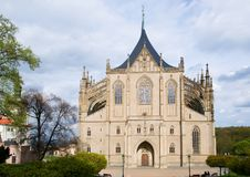 St. Barbara`s Church in the town Kutna Hora, Czech republic. Gotic St. Barbara`s Church in the historic town Kutna Hora, Central Bohemia, Czech republic Royalty Free Stock Photos