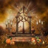 Gotisch altaar met hoorn des overvloeds stock illustratie