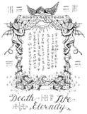 Gotisch kader met engel en demonen stock illustratie