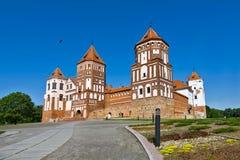 Gotisch kasteel in Mir (Wit-Rusland). Stock Foto