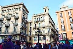 Gotisch Kwart en de straat Barcelona van La Rambla royalty-vrije stock foto's