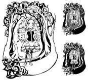 Gotisch Meisje in een Somber Kader Stock Afbeeldingen