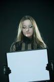 Gotisch meisje met leeg frame stock foto's