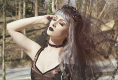 Gotisch meisje met sluier Stock Foto's