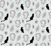 Gotisch patroonontwerp met dierlijke schedel, katten en bladeren seamles royalty-vrije illustratie