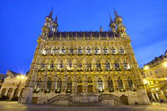 Gotisch stadhuis in avondlicht, Leuven Stock Foto