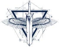 Gotisch stijlzwaard met vleugelstatoegering vector illustratie
