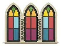 Gotisch venster met verticale raamstijlen met steenkader royalty-vrije illustratie