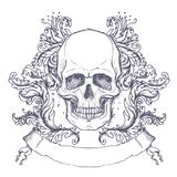 Gotisch wapenschild met schedel Uitstekend etiket Retro vectordesi royalty-vrije illustratie