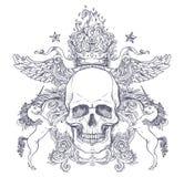 Gotisch wapenschild met schedel Uitstekend etiket Retro vectordesi stock illustratie