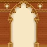 Gotische boog en muur Stock Afbeeldingen