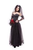 Gotische Braut der Mode lokalisiert auf weißem Hintergrund Stockbild