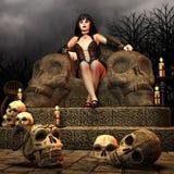 Gotische Dame op een troon Royalty-vrije Stock Fotografie