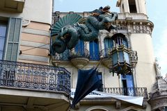 Gotische de kunsthemel van Barcelona Spanje stock afbeeldingen