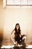 Gotische Frau unter raylight Stockbild