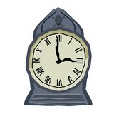 Gotische furchtsame Uhr mit dem Schädel auf weißem Hintergrund Stockfoto