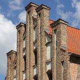 Gotische geveltop in Anklam in Duitsland Stock Foto's
