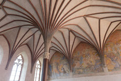 Gotische Halle in Malbork-Schloss Stockbilder