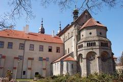 Gotische kathedraal buiten in Trebic Royalty-vrije Stock Fotografie