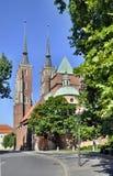 Gotische kathedraal in Wroclaw, Polen royalty-vrije stock foto's