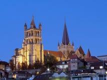 Gotische Kathedrale, Lausanne, die Schweiz lizenzfreie stockfotografie