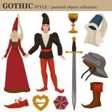 Gotische mittelalterliche 14-Jahrhundert-europäische alte Retro- Modeart des Mannes und der Frau kleidet Kleider und persönliches lizenzfreie abbildung