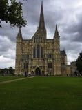 Gotische Salisbury-Kathedrale am bewölkten Tag und am grünen Park Stockbild