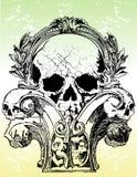 Gotische schedelsillustraties Stock Afbeelding