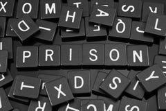 Gotische Schrift deckt die Rechtschreibung des Wortes u. des x22 mit Ziegeln; prison& x22; Lizenzfreie Stockfotografie