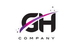 Gotische Schrift Logo Design Handhabung am Boden G H mit purpurrotem magentarotem Swoosh stock abbildung