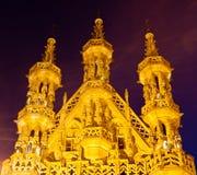 Gotische spitsen van het Stadhuis van Leuven, België Royalty-vrije Stock Foto's