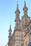 Gotische spitsen van het Stadhuis van Leuven, België Royalty-vrije Stock Afbeeldingen