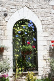 Gotische venster/Assisi stock afbeeldingen