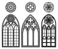 Gotische vensters van kathedralen Stock Fotografie