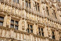 Gotische voorgevel van het Stadhuis van Brussel stock foto's