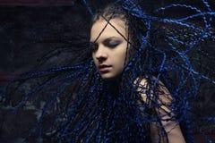 Gotische vrouw met blauwe dreadlocks Royalty-vrije Stock Foto