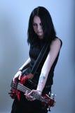 Gotische vrouw met gitaar Stock Foto