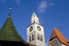 Gotischer Kontrollturm MÃ ¼ nster Str.-Nikolaus in Ãberlingen lizenzfreie stockfotografie