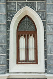 Gotisches Artfenster. Stockbild